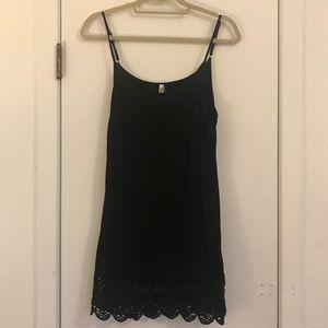 Black Crochet Tunic Shirt Dress Extender Size L